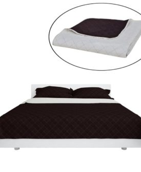 Dobbeltsidet quiltet sengetæppe beige/brun 230 x 260 cm