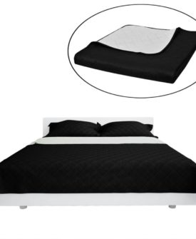 Dobbeltsidet quiltet sengetæppe sort/hvid 220 x 240 cm