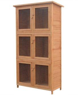 vidaXL dyrebur/kaninbur med 6 rum træ