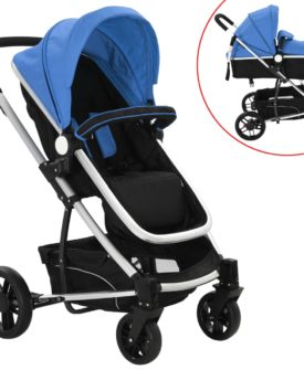 vidaXL 2-i-1 klapvogn/barnevogn aluminium blå og sort