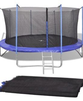 vidaXL sikkerhedset PE sort til 3,05 m rund trampolin