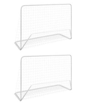vidaXL fodboldmål 2 stk. med net 182 x 61 x 122 cm stål hvid