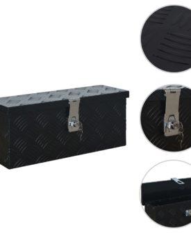 vidaXL aluminiumskasse 485 x 140 x 200 mm sort