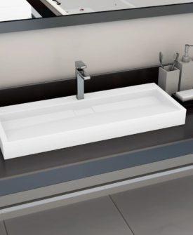 vidaXL håndvask 120 x 46 x 11 cm mineralstøbt/marmorstøbt hvid