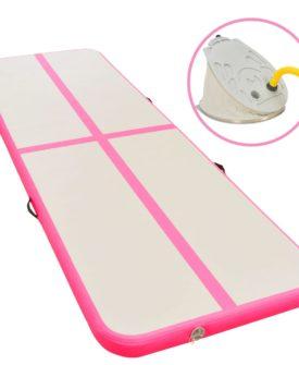 vidaXL oppustelig gymnastikmåtte med pumpe 300 x 100 x 10 cm PVC Pink