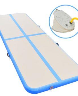 vidaXL oppustelig gymnastikmåtte med pumpe 300 x 100 x 10 cm PVC blå