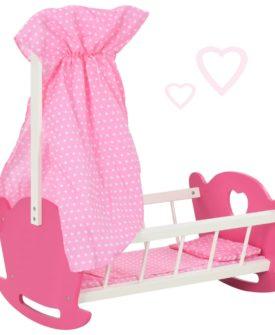 vidaXL dukkeseng med baldakin 50 x 34 x 60 cm MDF pink