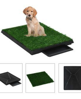 vidaXL kæledyrstoilet med bakke og kunstgræs 2 stk. grøn 63x50x7 cm