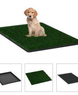 vidaXL kæledyrstoilet med bakke og kunstgræs grøn 64x51x3 cm
