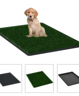 vidaXL kæledyrstoilet med bakke og kunstgræs grøn 76x51x3 cm