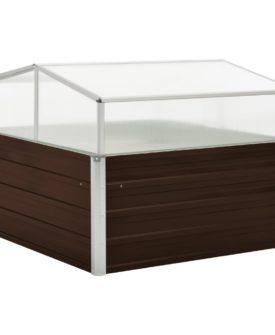 vidaXL drivhus 100 x 100 x 85 cm galvaniseret stål brun