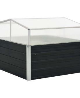vidaXL drivhus 100 x 100 x 77 cm galvaniseret stål antracitgrå