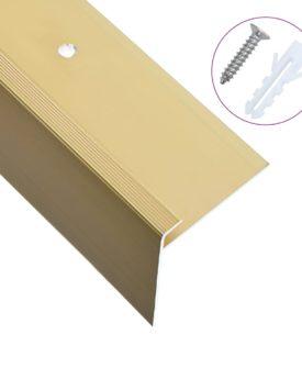 vidaXL 15 stk. F-formede trappelister 90 cm aluminium guldfarvet