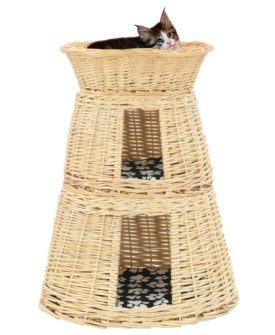 vidaXL kattekurve med hynder 3 stk. 47 x 34 x 60 cm naturligt piletræ