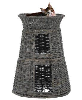 vidaXL kattekurve hynder 3 stk. 47 x 34 x 60 cm naturligt piletræ grå