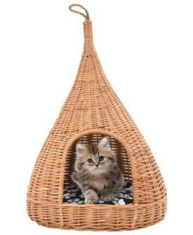 vidaXL kattehus med hynde 40 x 60 cm tipifacon naturligt piletræ