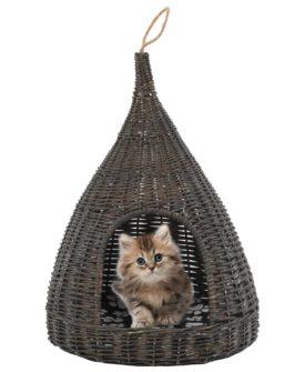vidaXL kattehus med hynde grå 40 x 60 cm naturpil tipi