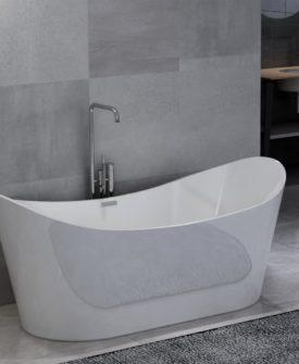 vidaXL fritstående badekar 204 l akryl hvid