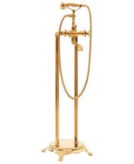 vidaXL fritstående badekarsarmatur 99,5 cm rustfrit stål guldfarvet