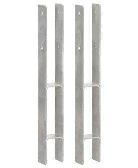 vidaXL hegnspløkker 2 stk. 7x6x60 cm galvaniseret stål sølvfarvet