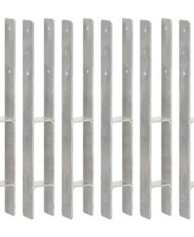 vidaXL hegnspløkker 6 stk. 7x6x60 cm galvaniseret stål sølvfarvet