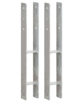 vidaXL hegnspløkker 2 stk. 8x6x60 cm galvaniseret stål sølvfarvet