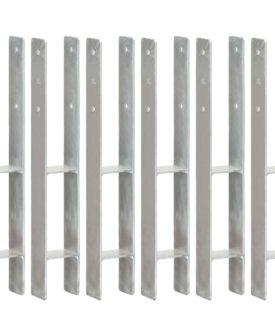 vidaXL hegnspløkker 6 stk. 8x6x60 cm galvaniseret stål sølvfarvet