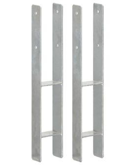 vidaXL hegnspløkker 2 stk. 9x6x60 cm galvaniseret stål sølvfarvet