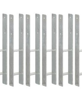 vidaXL hegnspløkker 6 stk. 9x6x60 cm galvaniseret stål sølvfarvet