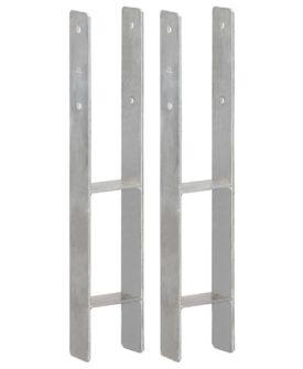 vidaXL hegnspløkker 2 stk. 10x6x60 cm galvaniseret stål sølvfarvet