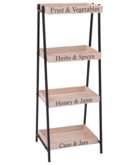 Home&Styling opbevaringsreol 37,5 x 32 x 96 cm stål og træ